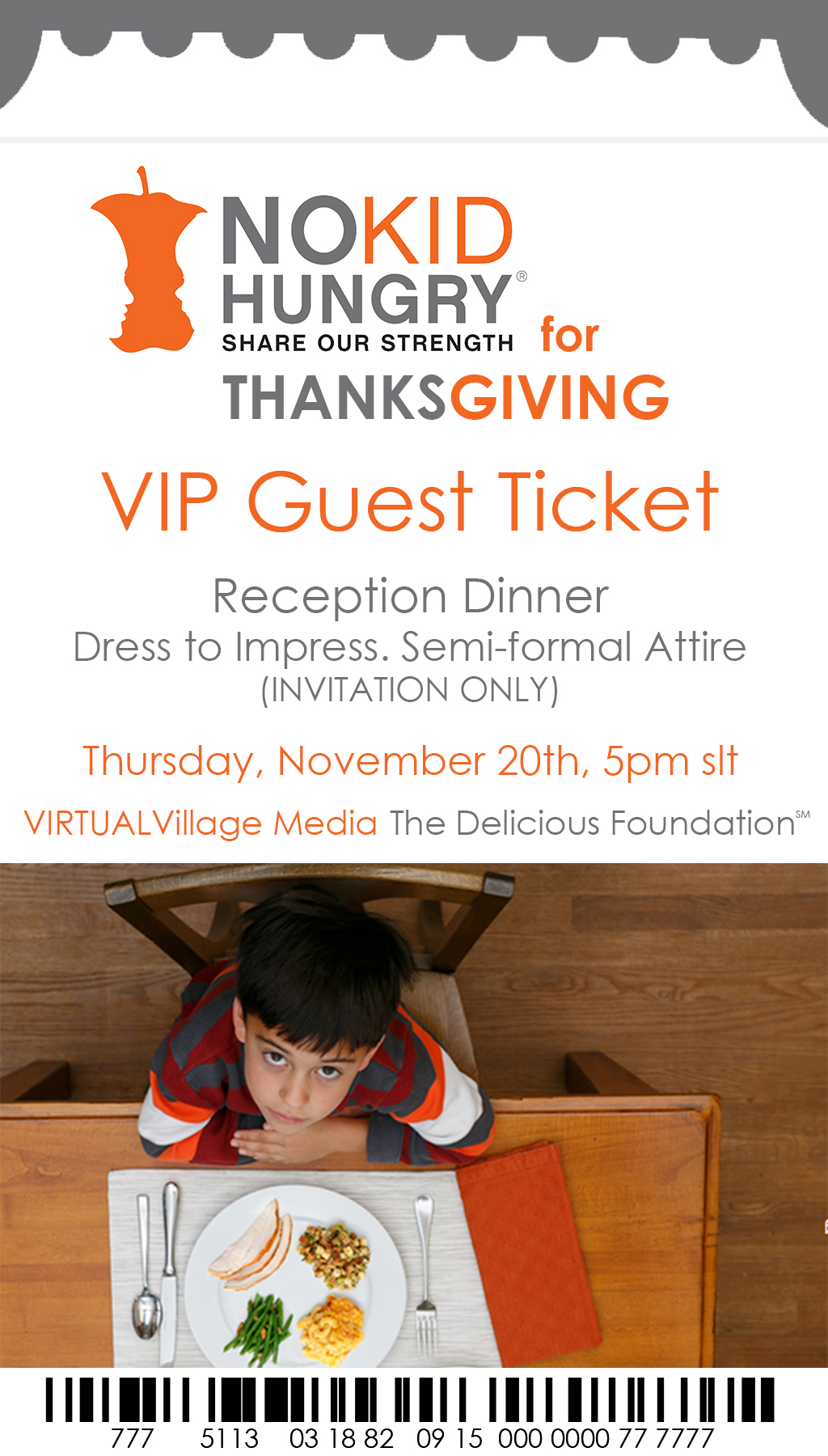 NO KID HUNGRY for Thanksgiving Ticket